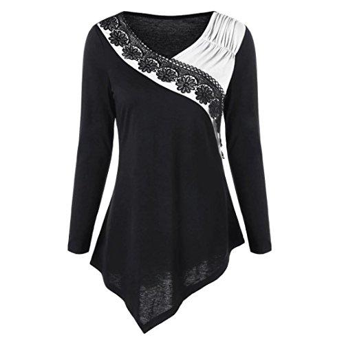 Damen Langarm Pullover TUDUZ Frauen Oversize Schulter Besticktes Langarm T-Shirt Sweatshirt Bluse Spitze Trim Asymmetrische Tops Jumper (Weiß, M) (Langarm-shirt Besticktes)