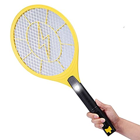 E-TRENDS USB Rechargeable Electric Bug Zapper Fly Mosquito Swatter Racket with Isolation Mesh and LED Light,