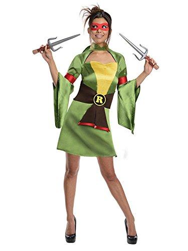 Turtle Kostüme Echte Ninja (TMNT Raphael Damenkostüm Turtles grün gelb schwarz)