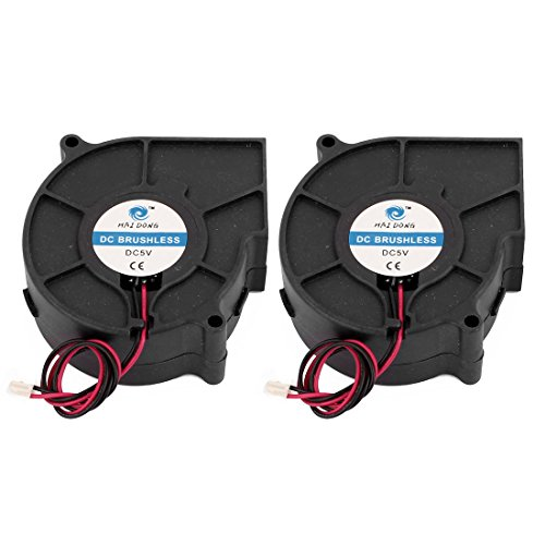 sourcingmap® 2x DC12V 75x75x30mm Bürstenlos Turbo Gebläse Kühlung Ventilator für PC Gehäuse (13-gebläse-motor)