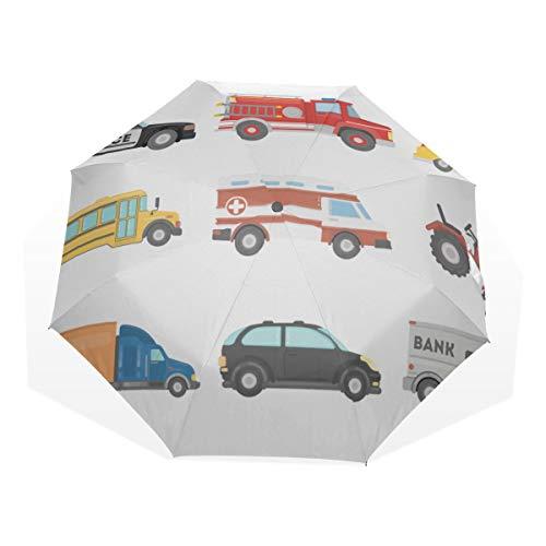 ro Wind Polizei Auto Polizei Anti Uv Kompakt 3 Falten Kunst Leichte Faltbare Regenschirme (Außendruck) Winddicht Regen Sonnenschutz Regenschirme Für Frauen Mädchen Kinder ()