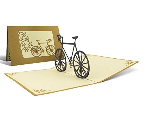 Idea regalo bicicletta, biglietto pop up realizzato a mano taglio al laser con disegno a comparsa, cartolina auguri vintage elegante, portasoldi buono regalo viaggio, tema ciclismo