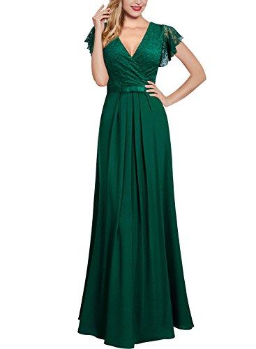 Miusol Damen Aermellos V-Ausschnitt Spitzenkleid Brautjungfer Cocktailkleid Chiffon Faltenrock Langes Kleid Grün XL - 5