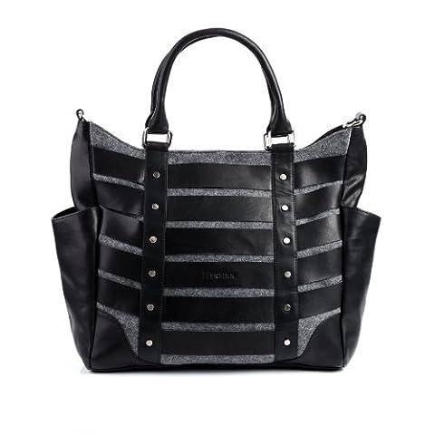 FEYNSINN large tote bag & shoulder bag - handbag SARAH fits tablet - iPad - women`s bag black-grey felt & leather