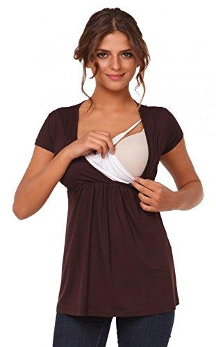 Happy Mama Femme. Top de maternité. T-shirt d'allaitement effet cache-coeur. 373p Chocolat