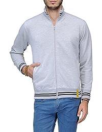 Scott International AWG Men's Premium Rich Cotton High Neck Hoodie Sweatshirt - Grey Melange