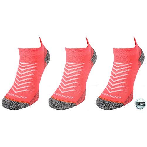 Comodo - Sport Sneaker Socken Damen & Herren, 3 Paar Kurze Sportsocken, Unisex Kurzsocken für langes Laufen, Joggen, atmungsaktive - antibakterielle - antischweiß Laufsocken RUN8 gr 39-42 Neon Lachs