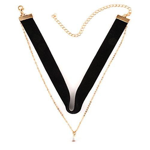 Tpocean Layered Mädchen Schwarz Samt Gothic Choker Halskette mit Faux Perle (Tanz Verkauf Kostüme Einzelnen)