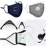 HAZUN Maschera viso lavabile riutilizzabile anti-inquinamento N95 con respiratore e 2 filtri per l'esecuzione di attività all'aperto in bicicletta (1 maschera + 2 filtri) -Navy Blue
