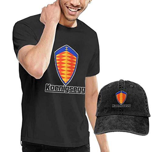 AOCCK Camisetas y Tops Hombre Polos y Camisas, Custom Koenigsegg Automotive AB T-Shirt and Hats for Man 100% Organic CottonO-Neck Black