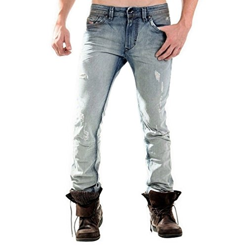 DIESEL Herren Jeans, Modell: THAVAR 0827W, Passform: Slim-Skinny, Distressed/Destroyed/Faded/Dirty-Wash/Used-Look, Farbe: Faded-Blue (Blau/Verwaschen)...