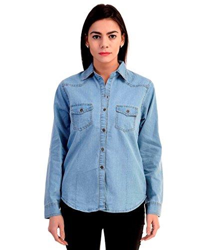 Trendy frog Women Long Sleeve Denim Shirt, Light Blue, Small Size