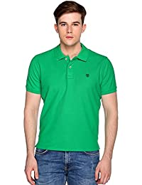 Trufit Green Solid Cotton Half Sleeve Polo Neck T-Shirt
