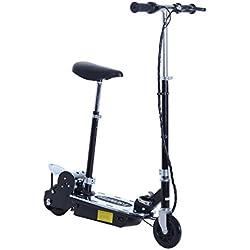 HOMCOM Patinete Eléctrico Scooter Plegable con Manillar y Asiento Ajustable Tipo Monopatín con Freno y Caballete 120W Carga 50kg 81.5x37x96cm Color Negro (Negro)