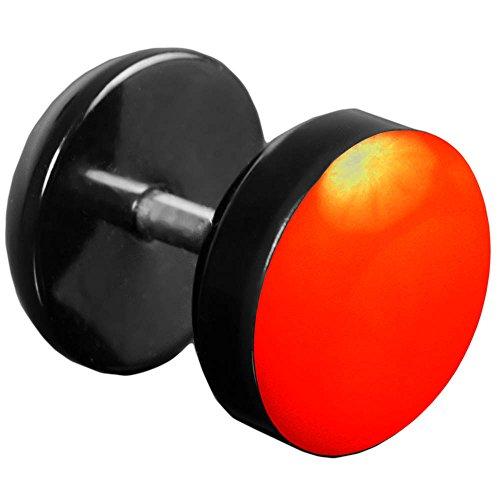 viva-adorno® 1 Stück Fake Plug Ohrstecker Edelstahl Acryl schwarz mit farbig emaillierter Front Z465 Schwarz/Neon Orange