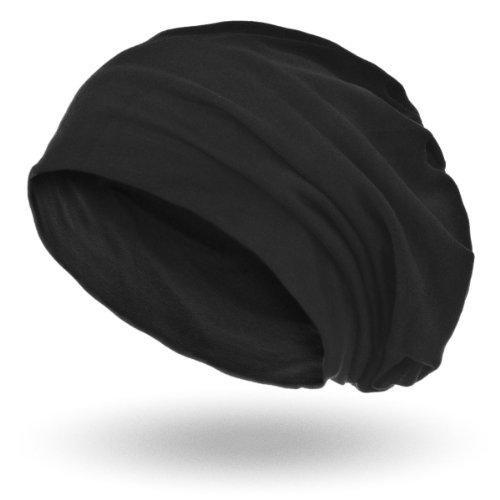 style3 Slouch Beanie aus atmungsaktivem, feinem und leichten Jersey Unisex Mütze, Farbe:Schwarz