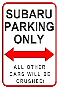 Parking Signs Plaque murale en aluminium avec inscription en anglais « Subaru Parking Only » - 20 x 30 cm