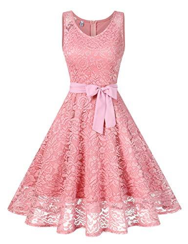 KOJOOIN Damen Spitzen Brautjungfernkleider für Hochzeit Abendkleider Ärmellos Kurzes Cocktail Ballkleid Rosa S