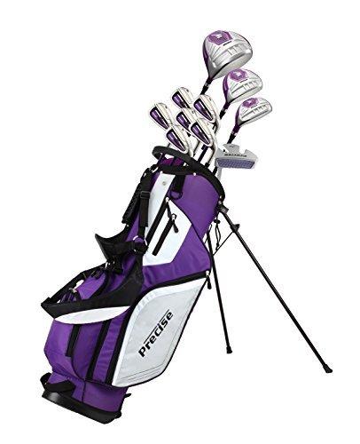 Präzise M5Damen Rechtshänder Golfschläger Komplett Set inkl. titan Driver, S.S. Fairway, S.S. Hybrid, S.S. 5-pw Eisen, Putter, Ständer Tasche, 3H/C 's violett, violett