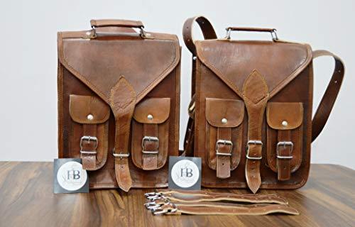 HBW Motorrad Seite Tasche braun Seite aus Leder Satteltaschen Satteltaschen (2 Taschen) Motorrad Fahrrad Bike 3 IN 1 Aktentasche für Laptops & Bücher, handgefertigt, robust