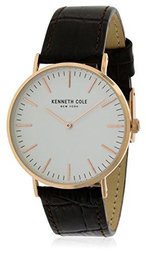 Kenneth Cole Homme Bracelet Cuir Marron Boitier Ton-Or - en Acier Inoxydable Quartz Montre KC50507002