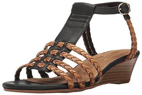Aerosoles Women's Bittersweet Wedge Sandal, Black Combo, 6.5 M US