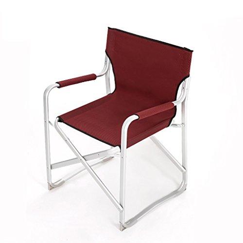 GFL Chaises Chaises Pliantes extérieures en Aluminium de Plage de pêche de Camping de Chaise Pliante (A++) (Couleur : Vin Rouge)