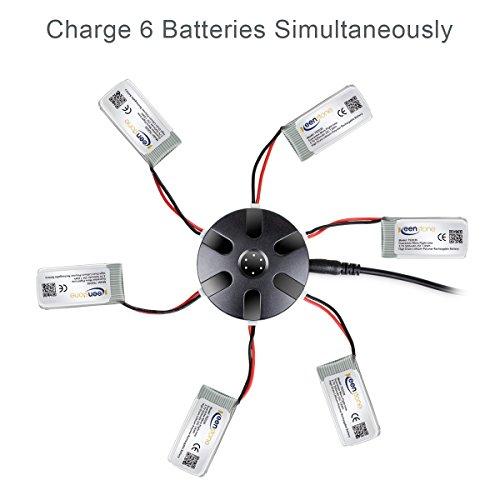 6 Stück Keenstone 3,7V 500mAh 25C LiPO Batterie mit 6-Port-Ladegerät für Hubsan X4 (H107 H107C H107D H107L V252 JXD385 F180C) 4 Kanal 2.4GHz RC QuadCopter Kompatibel mit Walkera Super CP - 2