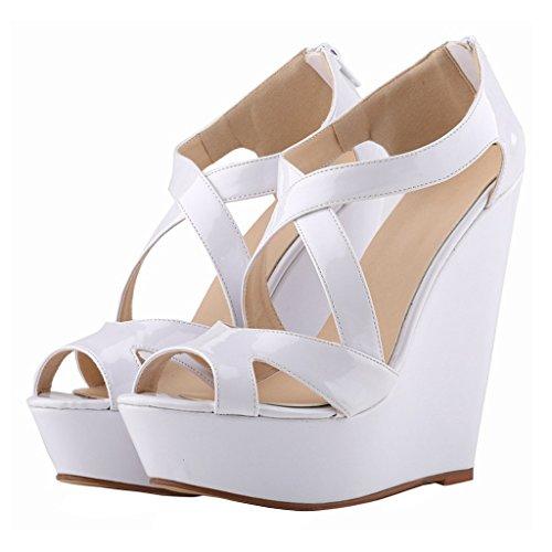 MERUMOTE Damen Y-009 Peep Toe Cross Strap Plattform High Heels Keil Sandalen White-Lackleder