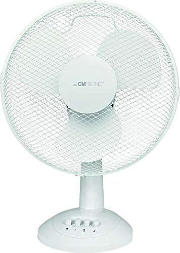 Tischventilator 30 cm Weiß 4 Stufen Ventilator Oszillierend (Windmaschine, 40 Watt, Tragegriff, Höhe 48 cm)