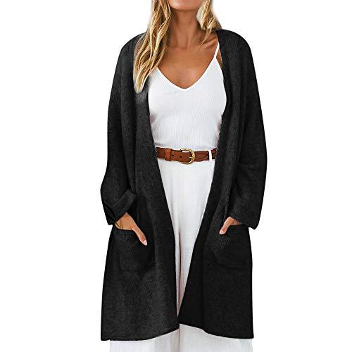 Kostüm Red Flapper Fashion - iHENGH Damen Kardigan Top,Ladies Fashion Winter Strickjacke Coat Tops Elegant Dicke Warme Oberbekleidung Outwear Jacke Mantel (EU-34/CN-S,Schwarz)