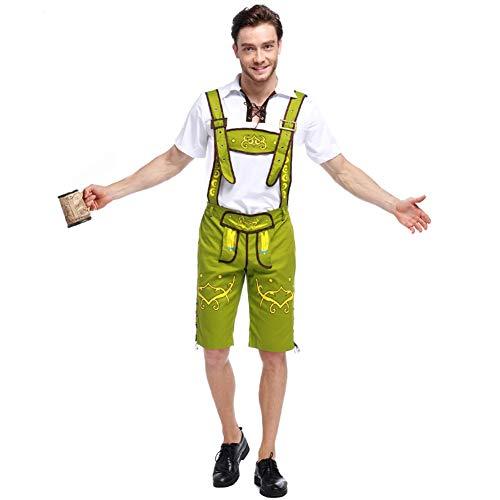 Gyratedream Herren Lederhosen Trachtenhemden Trachtensets Männer Deutsch Trachten Oktoberfest Outfits Bayerische Bier Festival Shirt Lederhosen Anzüge Halloween Cosplay Sets