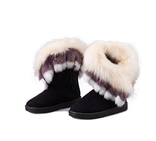 WZG New Herbst und Winter weibliche Stiefel Fuchspelz plus Samt warme Schneeschuhe Freizeit wilde runde, flache Schuhe 38