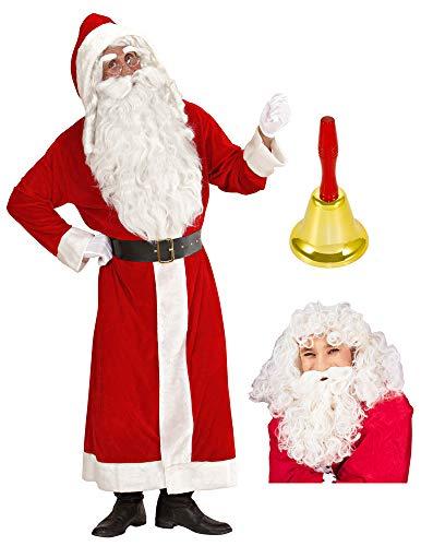Weihnachtsmann Kostüm Nikolaus Mantel + Perücke und Bart + Glocke