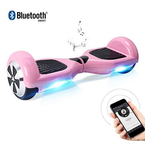 BEBK Hoverboard, 6.5 Zoll Self Balancing Scooter mit Bluetooth Lautsprecher - Tragetasche - LED Lights Elektro Scooter (Pink)