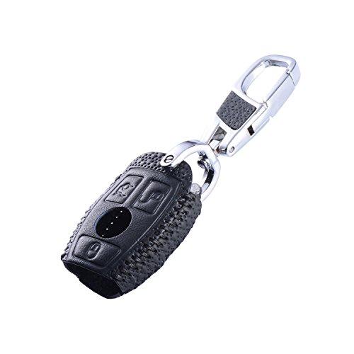 Maxiou Leder Schlüsselabdeckung für Mercedes Benz W203 W204 W211 CLK C180 E200 AMG C E S Klasse Schlüsselanhänger FOB Fall Kette (Luxus Schwarz)