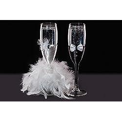 Copas de champán decoradas para novia y novio 5x21 cm