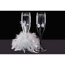 KameaHandCraft - Copas de champán decoradas para novia y novio, vidrio, Transparente, 5x21