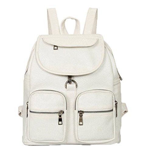 Ohmais Rücksack Rucksäcke Rucksack Backpack Daypack Schulranzen Schulrucksack Wanderrucksack Schultasche Rucksack für Schülerin weiß