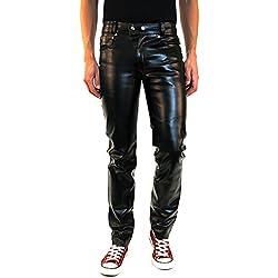 Bockle® New York Pantalones de imitación de cuero negro hom, Size: W29/L30