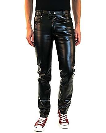 Bockle new york pantaloni di pelle imitazione nero per for Giardino 54 nyc