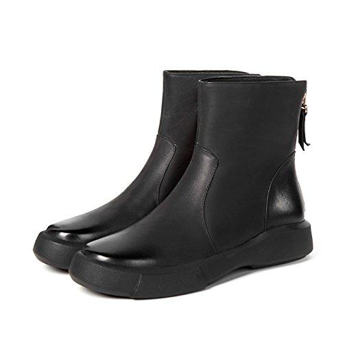 Flat Cylinder Head Low Wax Play Female Boots Black