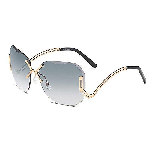 Y-weifeng occhiali da sole da donna frameless lady's cat eyes occhiali da sole oversize con gamba speciale per protezione uv da donna lenti colorate per guida viaggiare (colore : grigio)