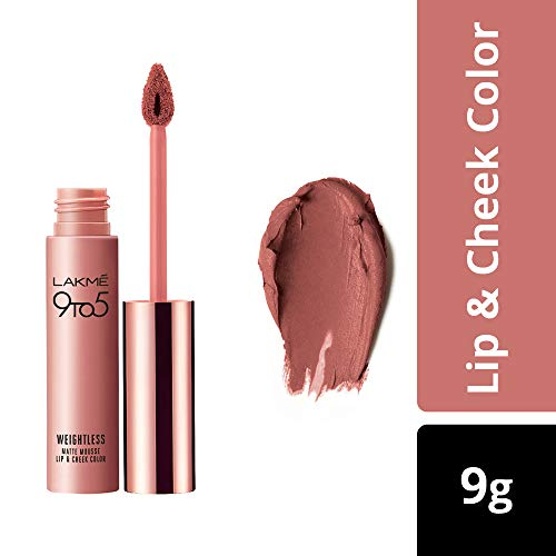 Lakme 9 to 5 Weightless Mousse Lip and Cheek Color, Blush Velvet, 9g