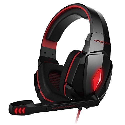 samLIKE PC & PS4 Gaming Kopfhörer, Noise Reduction 3.5MM + USB Headphone mit Cool LED Lichteffekt 4D Stereo Headset mit Mikrofon Speaker für PC, Switch, Laptop, Tablets, Handy, ps4 usw (Rot) Audio Pc Headset Speaker Switch