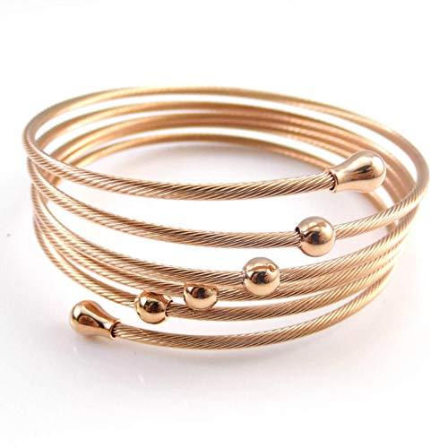 HMKLN Goldfarbe Twist Wire Mesh Hand Armreif Multilayer Charm Armbänder Modeschmuck für Frauen (Rhodium-mesh-armband)