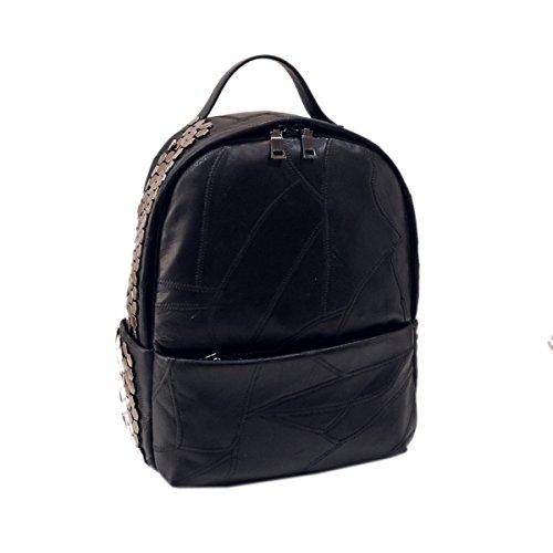 Frau PU Rucksack Neuer Stil Umhängetasche Freizeit Reisetasche Große Kapazität Tasche Black