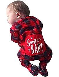 Ansenesna Weihnachten Kostüm Baby Mädchen Jungs Strampler Kariert Langarm Soft Elegant Weihnachts Kleidung Rot