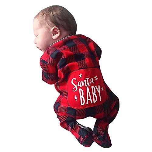 Longra Babykleidung Strampler Baby Jungen Mädchen Kariert Santa Baby Schlafanzug Strampelanzug Langarm Bodies Weihnachten Strampler Overall Kostüm Kleinkinder Jumpsuits (70CM 6 Monate, (Private Kleinkind Kostüm)