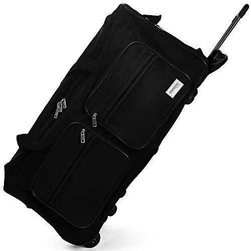 DEUBA XL Reisetasche | 85L | Trolleyfunktion | Teleskopgriff | Schwarz | Duffle Bag Sporttasche Reisegepäck Gepäcktasche
